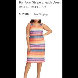 RACHEL ROY COLORFUL STRIPES SEQUIN DRESS
